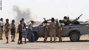 Yemeni members of the southern separatist movement, loyal to President Abedrabbo Mansour Hadi,  gather around an armed pick up truck in Aden's suburbs, on June 3, 2015. Saudi-led coalition warplanes intensified raids on Yemen's capital, as Washington confirmed a top US diplomat had met representatives of Iran-backed rebels to try to revive proposed Geneva peace talks. AFP PHOTO / SALEH AL-OBEIDI        (Photo credit should read SALEH AL-OBEIDI/AFP/Getty Images)