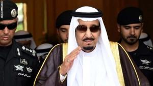 Saudi King Salman bin Abdulaziz (C) walks out to receive Sheikh Mohammed Bin Rashid al-Maktoum, ruler of Dubai (unseen) upon his arrival to attend the Gulf Cooperation Council (GCC) summit in Riyadh on May 5, 2015. AFP PHOTO / FAYEZ NURELDINE        (Photo credit should read FAYEZ NURELDINE/AFP/Getty Images)