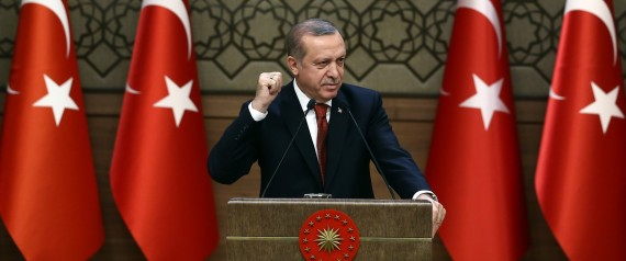 ANKARA, TURKEY - OCTOBER 26: Turkish President Recep Tayyip Erdogan delivers a speech during the 29th Muhktars Meeting at the Presidential Complex in Ankara, Turkey on October 26, 2016. (Photo by Turkish Presidency / Yasin Bulbul/Anadolu Agency/Getty Images)