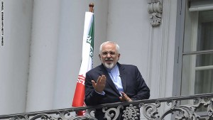 Iranian Foreign Minister Javad Zarif talks to media from bacon of the Palais Coburg Hotel, venue of the nuclear talks in Vienna, Austria on July 2, 2015. British Foreign Secretary Philip Hammond said there was no breakthrough yet in the Iran nuclear talks as they stretched into a sixth day, but insisted work was continuing to reach a deal. AFP PHOTO/SAMUEL KUBANI        (Photo credit should read SAMUEL KUBANI/AFP/Getty Images)