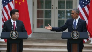 WASHINGTON, DC - SEPTEMBER 25:  U.S. President Barack Obama (R) speaks next to Chinese President Xi Jinping at a joint press conference in the Rose Garden at The White House on September 25, 2015 in Washington, DC.  Jinping is in the U.S. on an official state visit to meet with President Obama to discuss a range of issues.  (Photo by Mark Wilson/Getty Images)
