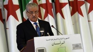 Algerian Prime Minister Abdelmalek Sellal addresses a gathering of parliamentarians during a vote on a package of constitutional reforms on February 7, 2016, in the capital Algiers.  Algeria's parliament adopted the constitutional reforms that authorities say will strengthen democracy, but opponents doubt it will bring real change. The reforms are meant to address longstanding public grievances in the North African nation, and possibly to prepare for a smooth transition amid concerns over the health of 78-year-old President Abdelaziz Bouteflika. / AFP / Farouk Batiche        (Photo credit should read FAROUK BATICHE/AFP/Getty Images)