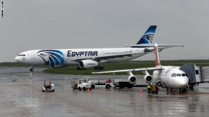 This picture taken on May 19, 2016, shows an Egyptair Airbus A330 (L) from Cairo taxiing at the Roissy-Charles De Gaulle airport near Paris after its landing a few hours after the MS804 Egyptair flight went missing. An EgyptAir flight from Paris to Cairo crashed into the Mediterranean on May 19, 2016, with 66 people on board, prompting an investigation into whether it was mechanical failure or a bomb. There were no immediate reports of the discovery of any debris in the area of sea between the Greek islands and the Egyptian coast where the plane vanished from radar screens. AFP PHOTO / THOMAS SAMSON / AFP / THOMAS SAMSON        (Photo credit should read THOMAS SAMSON/AFP/Getty Images)
