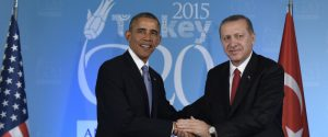U.S President Barack Obama shakes hands with Turkey's President Recep Tayyip Erdogan in Antalya, Turkey, Sunday, Nov. 15, 2015. Obama is attending the G-20 Summit while on a nine-day foreign trip that also includes stops in the Philippines and Malaysia for other global security and economic summits. (AP Photo/Susan Walsh)
