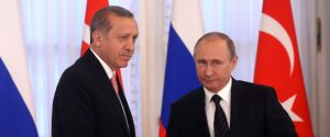 SAINT PETERSBURG, RUSSIA- AUGUST, 9  (RUSSIA OUT) Russian President Vladimir Putin (R) and Turkish President Recep Tayyip Erdogan (L) seen during their press conference in Konstantin Palace in Strenla, Saint Petersburg, August,9, 2016. President of Turkey is having a one-day visit to Putin's hometown. (Photo by Mikhail Svetlov/Getty Images)