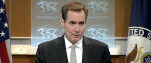 U.S. State Department spokesman John Kirby speaks about a hostage situation at a restaurant in the Bangladeshi capital Dhaka, during a press briefing in Washington DC, U.S. July 1, 2016. State TV/via Reuters TV. ATTENTION EDITORS - THIS IMAGE WAS PROVIDED BY A THIRD PARTY. EDITORIAL USE ONLY.