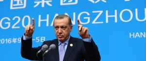 Turkish President Recep Tayyip Erdogan speaks to the media during a news conference in Hangzhou in eastern China's Zhejiang province, Monday, Sept. 5, 2016, after the G20 Summit.(Kayhan Ozer, Presidential Press Service, Pool photo via AP)