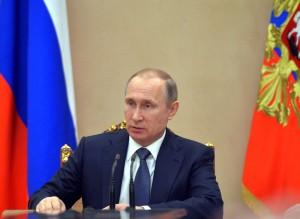 Russian President Vladimir Putin holds a meeting with the Cabinet in the Kremlin in Moscow, Russia, Wednesday, April 20, 2016. (Alexei Druzhinin/Sputnik, Kremlin Pool Photo via AP)