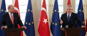 Turkish Prime Minister Binali Yildirim (R) delivers a speech next to President of the European Parliament Martin Schulz (L) during a joint press conference on September 1, 2016 at the Cankaya Palace in Ankara. Turkish Prime Minister Binali Yildirim on September 1, 2016 insisted his country would not relax its contested anti-terror laws, a key condition laid down by the European Union for giving Turks visa-free access to the bloc. Yildirim pointed to the series of terror attacks that have rocked Turkey in the past year in telling visiting EU Parliament chief Martin Schulz the government would maintain its hardline stance.  / AFP / ADEM ALTAN        (Photo credit should read ADEM ALTAN/AFP/Getty Images)